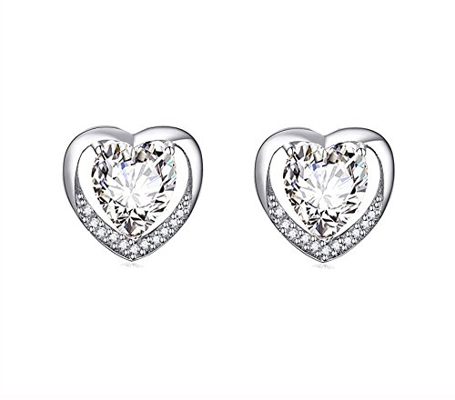 findout Ladies 925 Sterling Silver Cubic Zirconia White Crystal Heart Shinny Stud Earrings, for Women Girls (f1833)