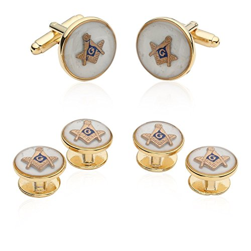 Cuff-Daddy Mens White Enamel Freemason Masonic Formal Set Cufflinks and Studs with Presentation Box