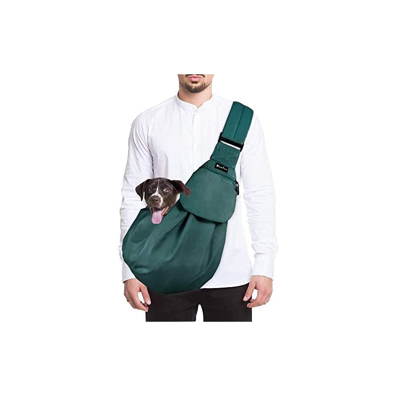 dog supplies online slowton pet carrier, hand free sling adjustable padded strap tote bag breathable cotton shoulder bag front pocket safety belt carrying small dog cat puppy up to 13 lbs machine washable (green)