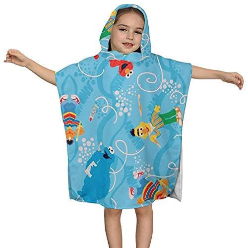 Toalla de baño con capucha para niños Toalla de playa suave azul de dibujos animados lindos personajes E-l-m-o Animal Baño/Piscina/Playa con capucha Poncho Toalla Absorbente Toalla 2-7 años Niños