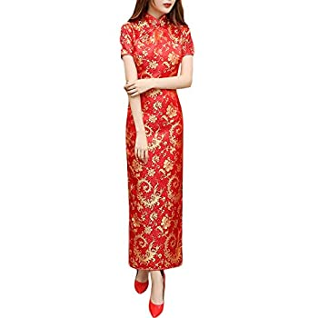 Women s Cheongsam Chinese Traditional Clothing China Qipao Floral Print Dress  Long-Red M