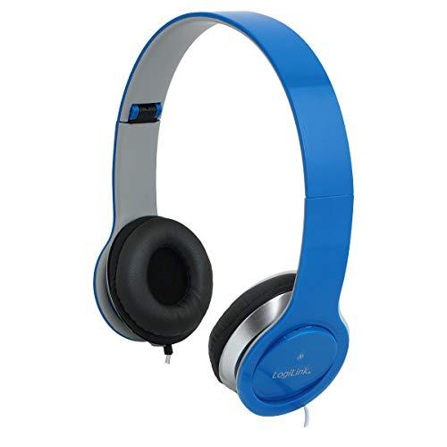 LogiLink HS0031 Stereo High Quality Headset mit Mikrofon, hohem Tragekomfort und verstellbaren + klappbaren Bügeln, Blau