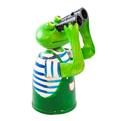 GK Zaunhocker Metallfigur Frosch mit blauem Ringelshirt - Gärtner mit Fernglas