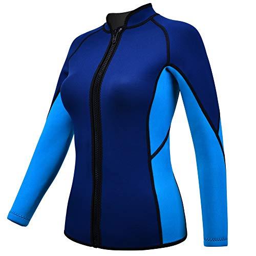 REALON Wetsuits Top Jacket Vest Mens Women 2mm Neoprene Long Sleeve/3mm Sleeveless Shirt Front Zip Sports XSPAN for Scuba Diving Surf Swimming Snorkel Suit (2mm Ocean L)