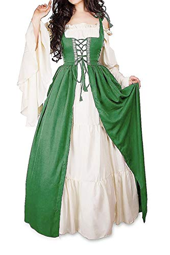 AbaoWedding Womens's Medieval Renaissance Costume Cosplay Chemise and Over Dress (L/XL, Green)