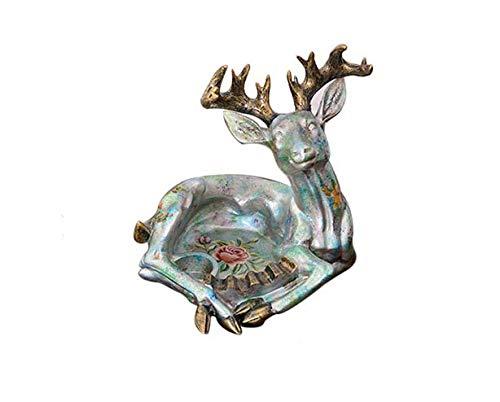 WOLJW Asbak Europese Retro Woonkamer Koffie Tafel Home Decoratie Dierlijke Rook Schaal Groot, 1