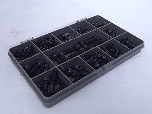 Monkeyjams' Shed 206 Assorted Allen Socket Screws for Bikes, M4, M5 & M6. Black High Tensile Steel.