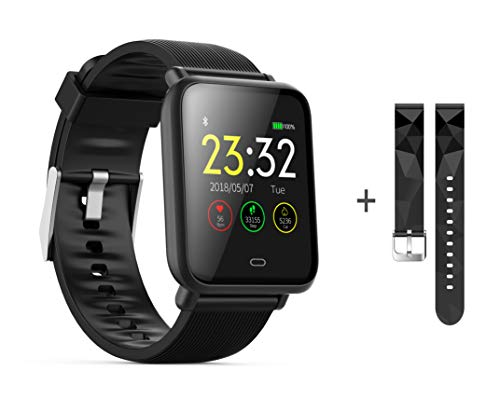 kkcite Bluetooth Smart Watches, Waterproof Fitness Tracker Smart Watch with Heart Rate/Blood/Pressure/Sleep Monitor Compatible with Android/iOS/Samsung Phones for Men Women Kid (Black)