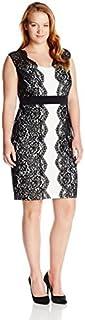 Sangria Women's Plus Size Lace Color Block Dress
