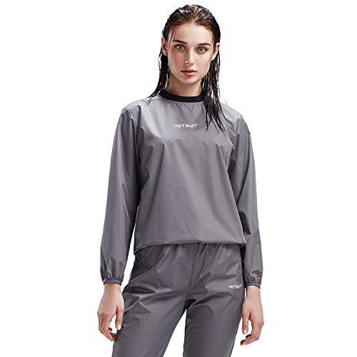 HOTSUIT Sauna Suit Women Weight Loss Gym Workout Sauna Jacket Pants Sweat Suits, Grey, S