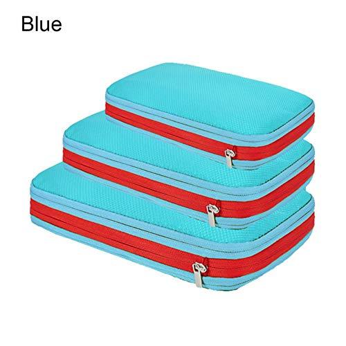 aifengxiandonglingbaihuo Doppellagiges Reise-Aufbewahrungsbeutel-Set für Kleidung Ordentlicher Organizer-Koffer Beutel Reise-Organizer-Taschenetui Kompressionsverpackungswürfel, blaues Set
