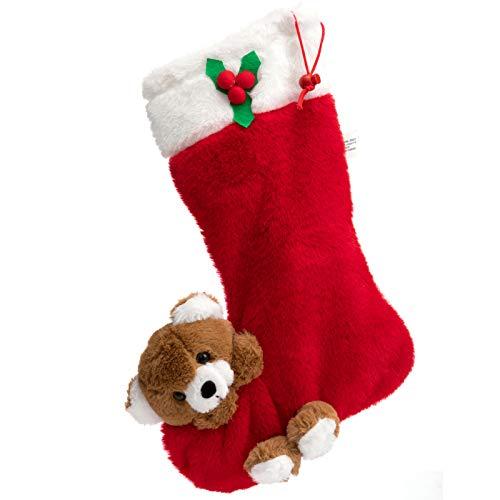 HollyHOME Plush Christmas Stockings with Plush Bear Hanging Xmas Decoration Kids Gift Socks Ornament 15 Inch