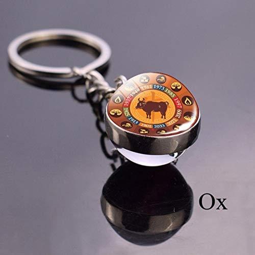 keyjiang Animal Llavero Dragon Glass Ball Llavero Amuleto Zodiaco Llav