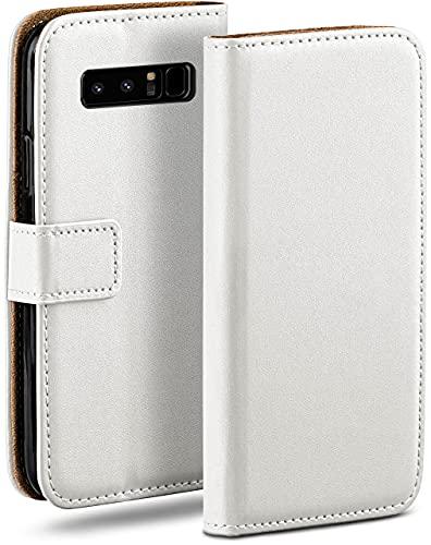 moex Klapphülle kompatibel mit Samsung Galaxy Note8 Hülle klappbar, Handyhülle mit Kartenfach, 360 Grad Flip Hülle, Vegan Leder Handytasche, Weiß