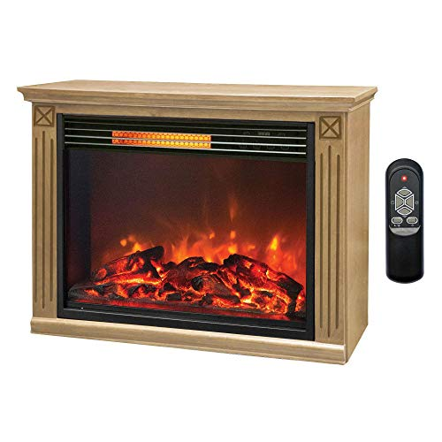 LifeSmart Large Room Infrared Fireplace, Honey Oak