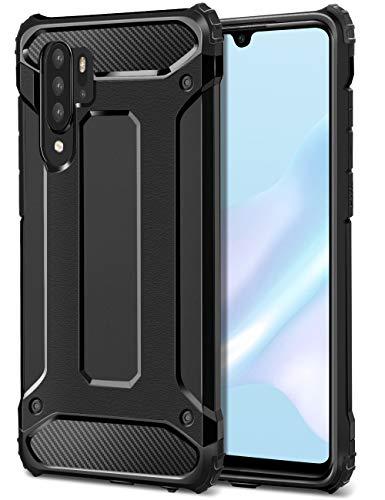 Coolden Huawei P30 Pro Hülle,Premium [Armor Serie] Outdoor Stoßfest Schutzhülle Tough Silikon TPU + PC Bumper Cover Doppelschichter Handyhülle für Huawei P30 Pro Smartphone - Schwarz