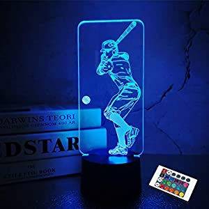 Baseball 3D Night Light, Baseball Batter Sport Gifts Bedside Lamp for Xmas Holiday Birthday Gifts for Kids Baseball Fan with Remote Control 16 Colors Changing + 4 Changing Mode + Dim Function