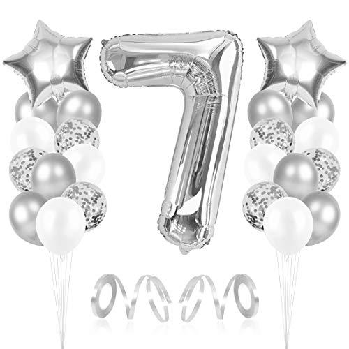 Bluelves Luftballon 7. Geburtstag, Folienballon Zahl 7 Silber, Geburtstagsdeko Jungen Mädchen 7 Jahr, Helium Riesen Zahlenballon 7, Deko zum Geburtstag für Kinder, Junge, Mädchen