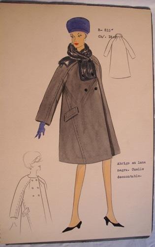 FIGURIN ORIGINAL ACUARELADO - Original watercolor design costume - CH. DIOR :...
