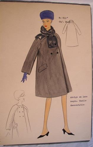 FIGURIN ORIGINAL ACUARELADO - Original watercolor design costume - CH. DIOR :...