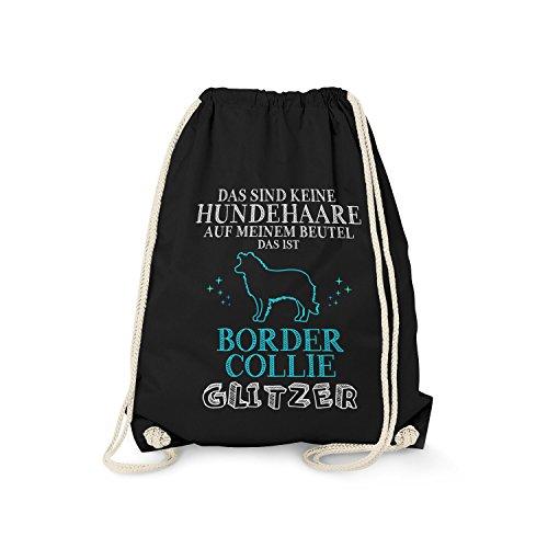 Fashionalarm Turnbeutel - Das sind Keine Hundehaare - Border Collie Glitzer | Fun Rucksack mit Spruch lustige Geschenk Idee Rasse Hunde Besitzer, Farbe:schwarz