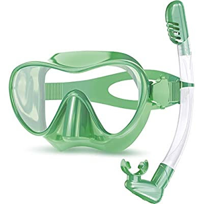 Rodicoco Kids Goggles Scuba Mask and Snorkel Set, Anti Fog Kids Swimming Goggles Anti Leak Snorkel Mask with Foldable Snorkel Gear, Dry-Top Anti-Splash Diving Mask for Swimming Pool/ Snorkeling