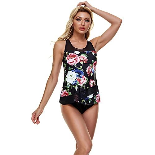 Cheypiwa Tankini Damen Spitze High Waist Bikini Damen Push up Gepolstert Zweiteiler Große Badeanzug Damen Sexy Blume Bademode mit Einstellbarer