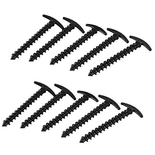 Gankmachine 10pcs Outdoor Lightweight Plastic Nails Snow Muddy Ground Spiral Screws Camping Tent Peg Strake