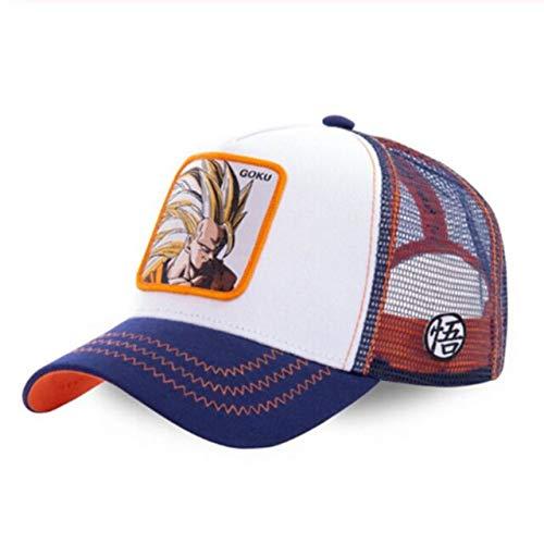 Nueva Gorra de béisbol de algodón con Snapback, Gorra de Camionero con Malla para papá-Goku White
