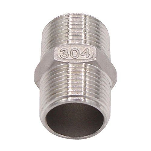 DERPIPE Hex Nipple 3/4 Inch Male NPT Stainless Steel 304 Threaded Pipe Fitting for Brew Kit, Home Piping Application, Compatible for DERNORD