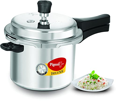 Pigeon by Stovekraft Deluxe Aluminium Pressure Cooker, 3 Litres, Silver