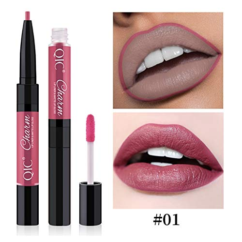 TOWAKM Lippenstift,Two-in-one Double Lip Gloss Lip Liner 12 Color Double Lip Gloss Cup