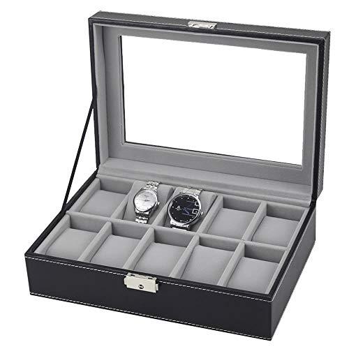 SUIWO Caja de reloj para reloj, caja de reloj con almohada extraíble 6/10/12/20 cuadrículas, caja de almacenamiento para relojes (color: negro, tamaño: 10 cuadrículas)