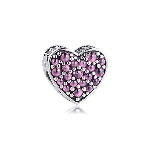 pandora 925 colgante de plata esterlina DIY genuino baratija deslumbrante zirconia cúbica corazón rosa adornos para pulsera original joyería baratija