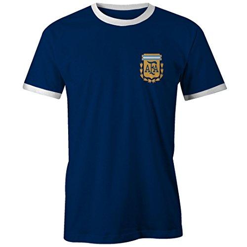 Footees Retro Argentina lejos fútbol camiseta para hombre camiseta no oficial