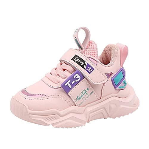 Zapatillas deportivas para niños 39, zapatillas de deporte ligeras para niños, con cierre de velcro, para exteriores, antideslizantes, transpirables, zapatillas de gimnasia para niños, Rosa., 23
