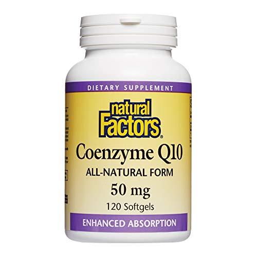 自然因素,辅酶Q10 50mg,Coq10能源,心脏和抗氧化剂的补充,无麸质,120粒软胶囊(120份)
