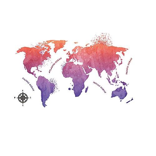 Winhappyhome Carte du Monde Coloré Forum Wall Art Autocollant pour Chambre Salon Fond DéCalage Amovible Stickers