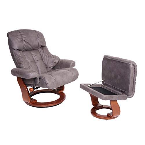Mendler MCA Relaxsessel Calgary XXL, TV-Sessel Hocker, 180kg belastbar Stoff/Textil ~ dunkelgrau, Gestell Walnuss-Optik