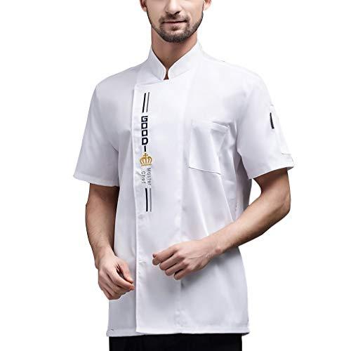 FJL Cocinero Abrigo Chaqueta Sayo de Los Hombres de Las Mujeres Vestir Corto Mangas Personalizado (Color : White, Size : XXL)