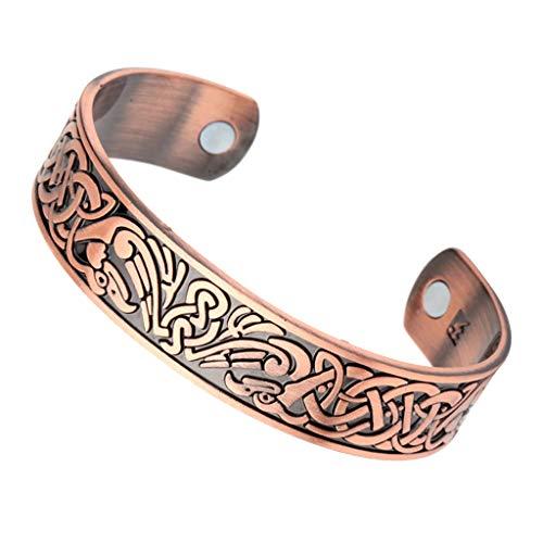 Baoblaze Vintage Breites Armband Armreif Ravens Wikinger Magnetische Gesundheit Manschette Hand Schmuck Silber für Männer Frauen - Antikes Kupfer