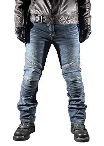 WildBee Pantalones de montar para motocicleta Pantalón de protección con rodilleras y protectores de rodilla Vaqueros
