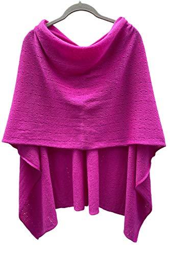 SEMON Kaschmir Multiwear Lacy Poncho leichte Qualität Reine Kaschmir in Pink, Alternative zu einem Strickwaren Wickeln Pulli Strick-Pullover Cardigan Kap