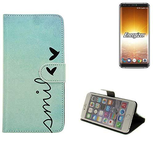 K-S-Trade® Schutzhülle Für Energizer P600S Hülle Wallet Case Flip Cover Tasche Bookstyle Etui Handyhülle ''Smile'' Türkis Standfunktion Kameraschutz (1Stk)