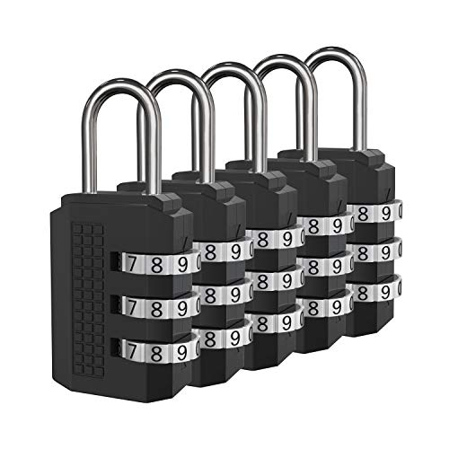 Leyaron Padlock, Combination Lock, 5 Black Digit Luggage Locks, Perfect Travel Locks for Suitcase & Backpack