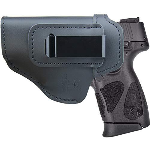IWB Leather Holster for Inside Waistband Concealed Carry Fits:Taurus G2C G3C / G2S / TH9c TH40c Compact / PT111 Millennium G2 / 709 740 Slim - or Similar Sized Pistols