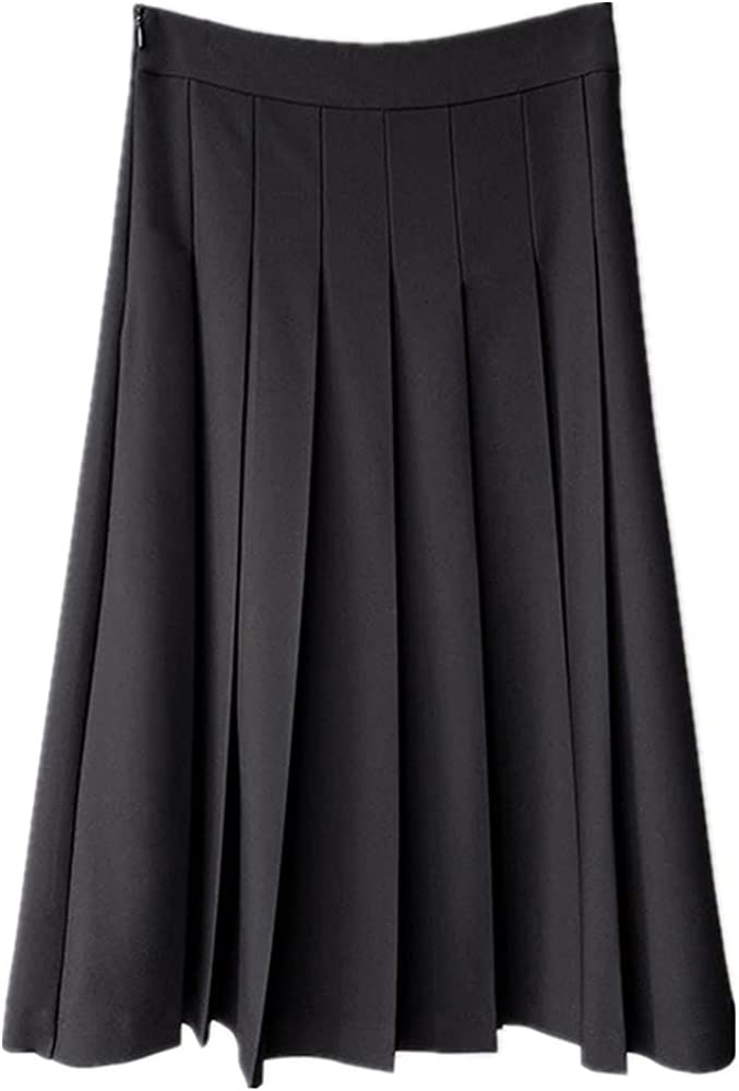 NP Pleated Skirt Women's Spring Retro Black High Waist Medium Length A-line Skirt