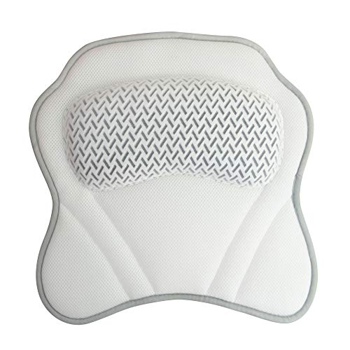 Brookstone Luxury Breathable Mesh Spa Bath Pillow - Head Neck & Shoulder Support Cushion - Easy Storage Hook - Secure Suction Cups Adhere to Bathtub, Spa & Jacuzzi