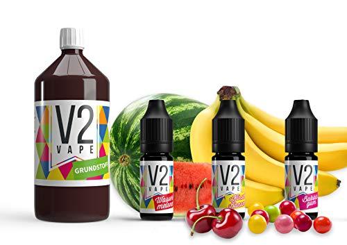 V2 Vape E-Liquid Grundstoff Base Basis Pharmaqualität reinst zum selber mischen von E-Liquids für E-Zigarette und E-Shisha 0mg nikotinfrei 1000ml Grundstoff/Base + 3 Aromen