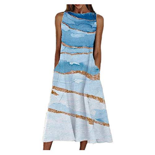 N-B Vestido Mujer Verano 2021 Bolsillo s - 3xl Casual Manga sin Elegantes Talla Grande Largos Dibujos de Playa Azul Originales en O -Cuello Moda Chica Vestido Falda Ropa